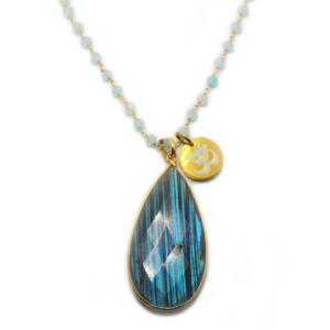 Aqua Chalcedony & Labradorite Gold