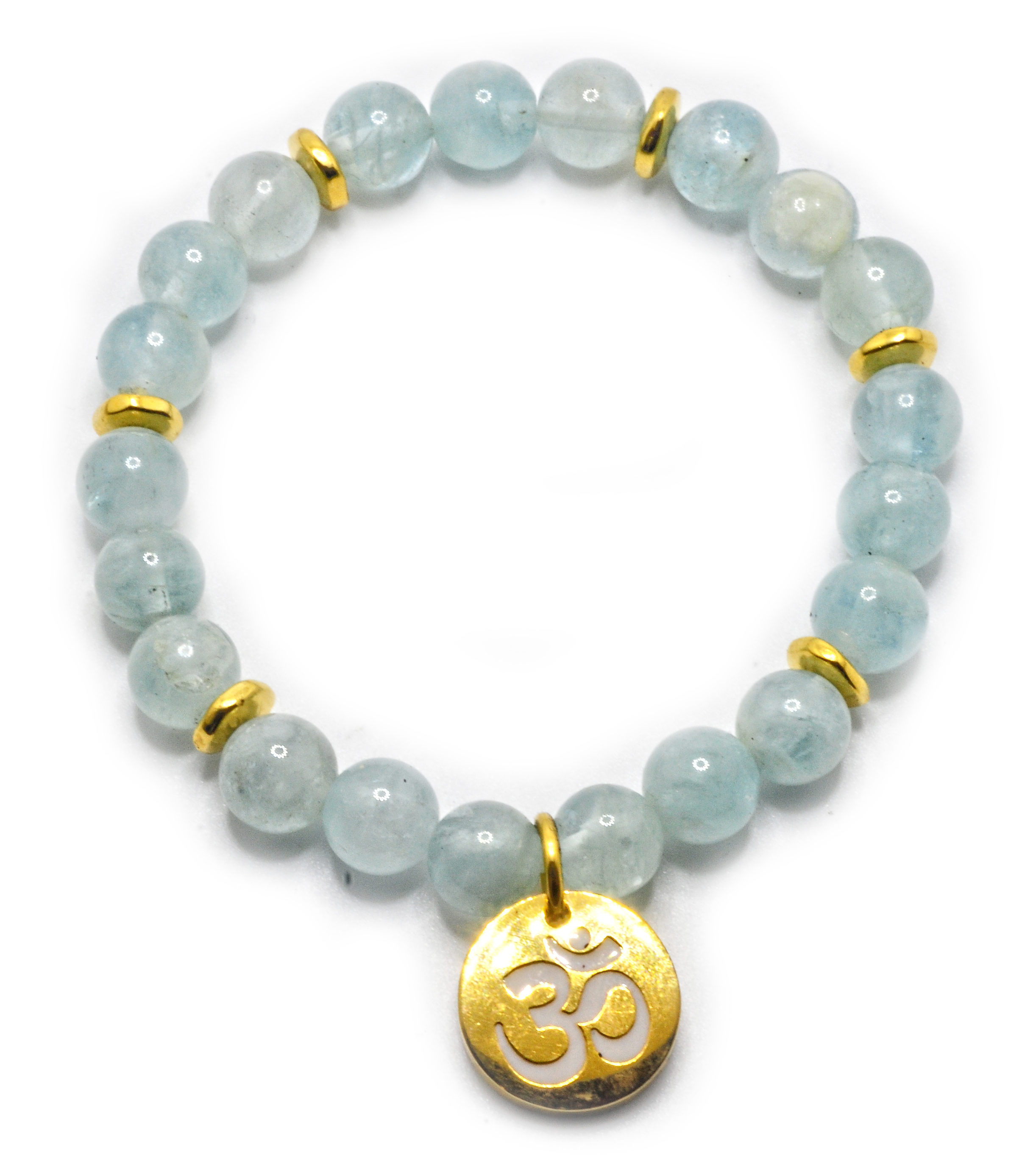 gemstone march stretch bracelet moonstone birthday protection aquamarine pin